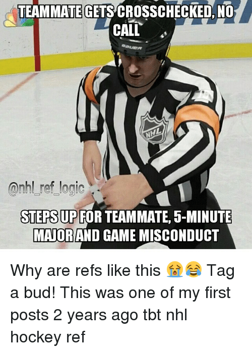 teammategetscrosschecked no call qnhl ref logic steps up for teammate 5 minute mayorand game