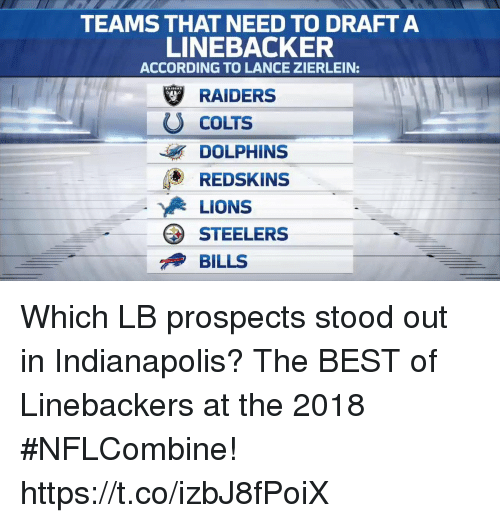 Indianapolis Colts, Memes, and Washington Redskins: TEAMS THAT NEED TO DRAFTA  LINEBACKER  ACCORDING TO LANCE ZIERLEIN:  Ψ RAIDERS  U COLTS  DOLPHINS  O REDSKINS  LIONS  STEELERS  BILLS Which LB prospects stood out in Indianapolis?  The BEST of Linebackers at the 2018 #NFLCombine! https://t.co/izbJ8fPoiX