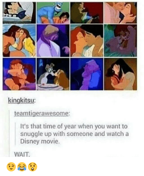Disney, Wait, and  Year: teamtigerawesome:  It's that time of year when you want to  snuggle up with someone and watch a  Disney movie.  WAIT 😉😂😲