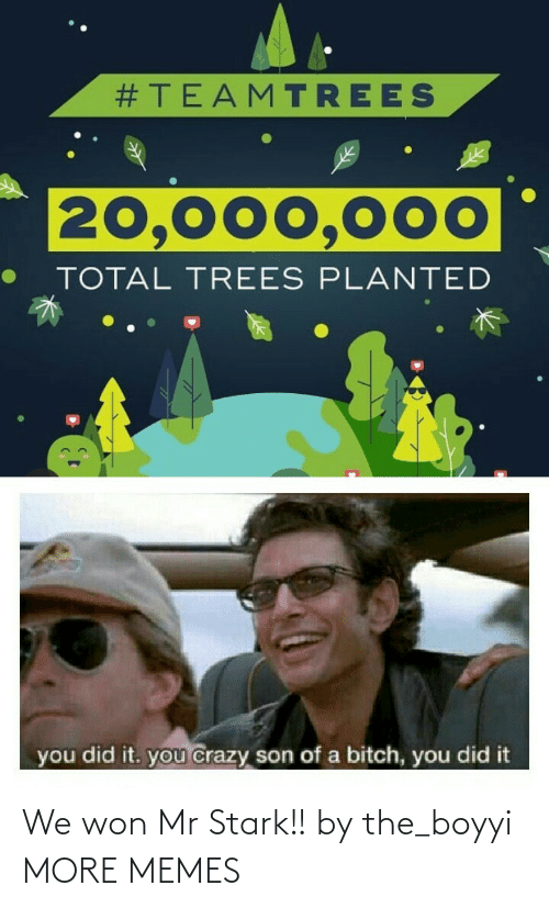 You Did:  #TEAMTREES  20,000,000  TOTAL TREES PLANTED  you did it. you crazy son of a bitch, you did it We won Mr Stark!! by the_boyyi MORE MEMES