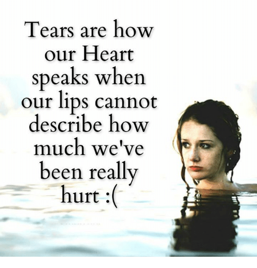 Memes, Heart, and Hearts: Tears are how  our Heart  speaks when  our lips cannot  describe how  much we've  been really  hurt