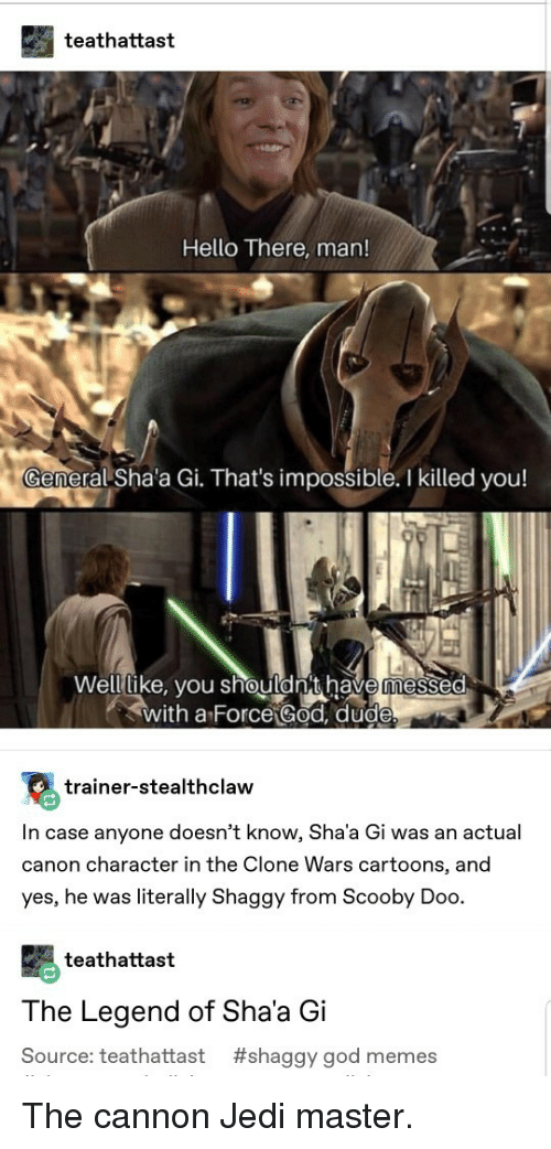 God Memes: teathattast  Hello There, man!  eral Sha'a Gi. That's impossible. I killed you!  Welllike, vou shouldn't have messed  with a Force God, dud  trainer-stealthclaw  In case anyone doesn't know, Sha'a Gi was an actual  canon character in the Clone Wars cartoons, and  yes, he was literally Shaggy from Scooby Doo.  teathattast  The Legend of Sha'a Gi  Source: teathattast #shaggy god memes The cannon Jedi master.