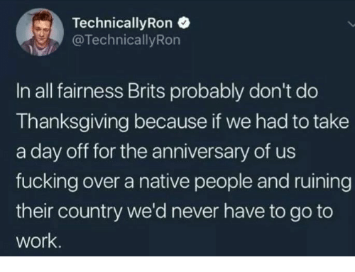 Fucking, Memes, and Thanksgiving: Technical!yRon  @TechnicallyRon  In all fairness Brits probably don't do  Thanksgiving because if we had to take  a day off for the anniversary of us  fucking over a native people and ruining  their country we'd never have to go to  work