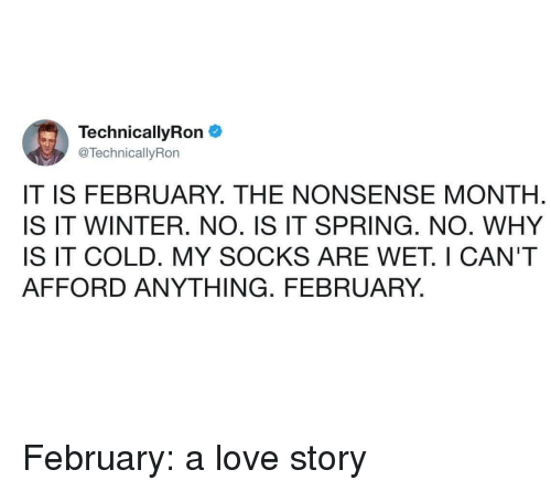 technical: Technical!yRon  @TechnicallyRon  IT IS FEBRUARY. THE NONSENSE MONTH  IS IT WINTER. NO. IS IT SPRING. NO. WHY  IS IT COLD. MY SOCKS ARE WET. I CAN'T  AFFORD ANYTHING. FEBRUARY, February: a love story