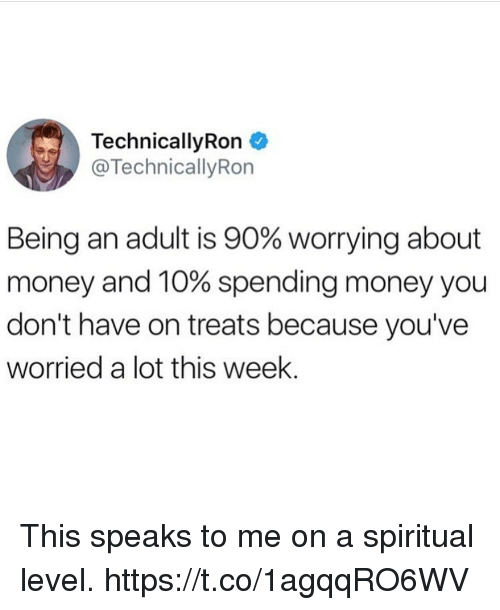 adultism: TechnicallyRon  @TechnicallyRon  Being an adult is 90% worrying about  money and 10% spending money you  don't have on treats because you've  worried a lot this week. This speaks to me on a spiritual level. https://t.co/1agqqRO6WV