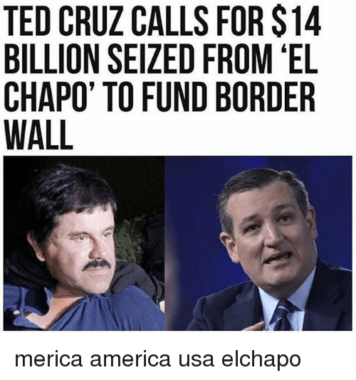 America, El Chapo, and Memes: TED CRUZ CALLS FOR$14  BILLION SEIZED FROM EL  CHAPO TO FUND BORDER  WALL merica america usa elchapo