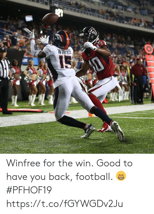 Football, Memes, and Good: TEE  WITNTRE Winfree for the win.  Good to have you back, football. 😁 #PFHOF19 https://t.co/fGYWGDv2Ju