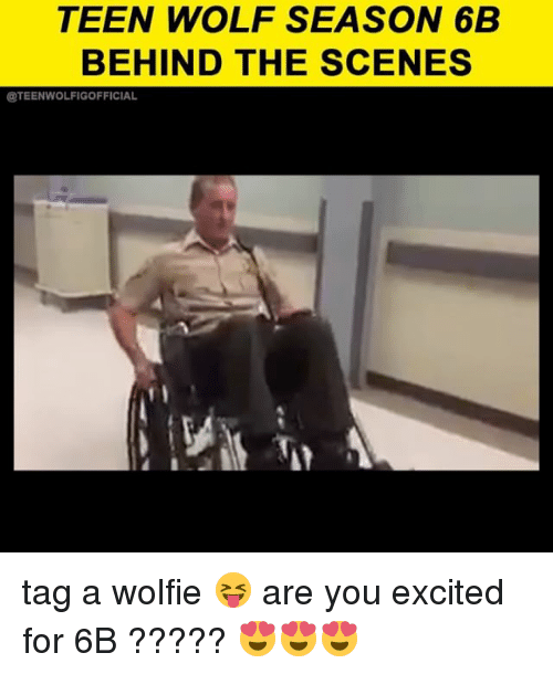 Memes, Teen Wolf, and Wolf: TEEN WOLF SEASON 6B  BEHIND THE SCENES  ETEENWOLFIGOFFICIAL tag a wolfie 😝 are you excited for 6B ????? 😍😍😍