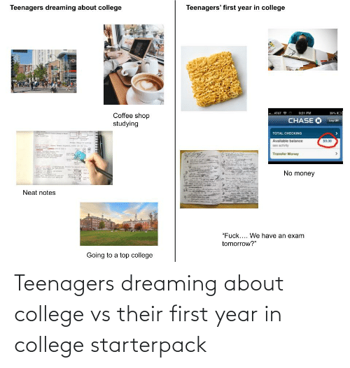 dreaming: Teenagers dreaming about college vs their first year in college starterpack