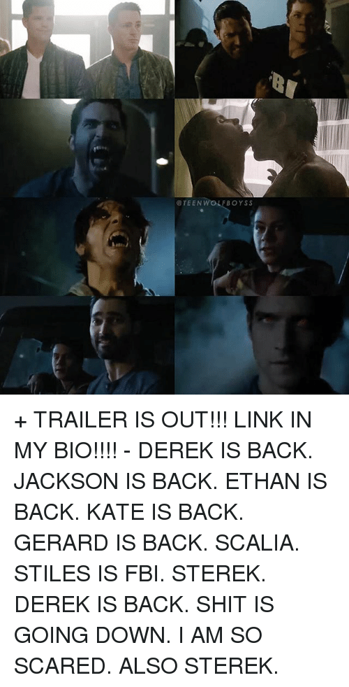 Fbi, Memes, and Shit: @TEENW  FBOYSS + TRAILER IS OUT!!! LINK IN MY BIO!!!! - DEREK IS BACK. JACKSON IS BACK. ETHAN IS BACK. KATE IS BACK. GERARD IS BACK. SCALIA. STILES IS FBI. STEREK. DEREK IS BACK. SHIT IS GOING DOWN. I AM SO SCARED. ALSO STEREK.