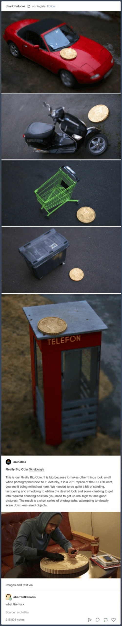 smudging: TELEFON  archatlas  Really Big Coin Skrekkogle  This is our Really Big Coin. It is big because it makes other things look small  when photographed next to it. Actually, it is a 20:1 replica of the EUR 50-cent,  you see it being milled out here. We needed to do quite a bit of sanding,  lacquering and smudging to obtain the desired look and some climbing to get  into required shooting position (you need to get up real high to take good  pictures). The result is a short series of photographs, attempting to visually  scale down real-sized objects.  Images and text via  aberrantkenosis  what the fuck  Source: archatlas  215,803 notes