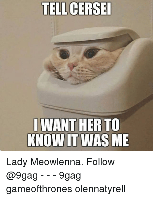 9gag, Memes, and 🤖: TELL CERSE  WANT HER TO  KNOW IT WAS ME Lady Meowlenna. Follow @9gag - - - 9gag gameofthrones olennatyrell