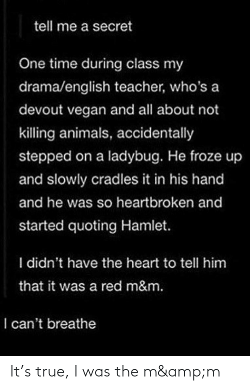 I Cant Breathe: tell me a secret  One time during class my  drama/english teacher, who's a  devout vegan and all about not  killing animals, accidentally  stepped on a ladybug. He froze up  and slowly cradles it in his hand  and he was so heartbroken and  started quoting Hamlet.  I didn't have the heart to tell him  that it was a red m&m.  I can't breathe It's true, I was the m&m