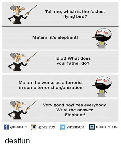 Memes, Elephant, and Good: Tell me, which is the fastest  flying bird?  Ma'am, it's elephant!  Idiot! What does  your father do?  Ma'am he works as a terrorist  in some terrorist organization  Very good boy! Yes everybody  Write the answer  Elephant!  K @DESIFUN 증@DESIFUN  @DESIFUNDESIFUN.COM desifun