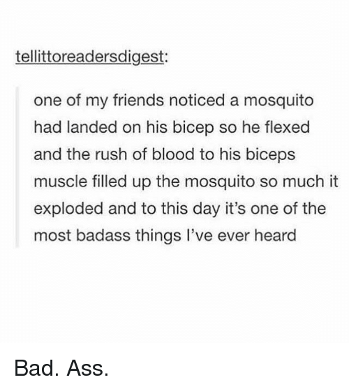biceps: tellittoreadersdigest:  one of my friends noticed a mosquito  had landed on his bicep so he flexed  and the rush of blood to his biceps  muscle filled up the mosquito so much it  exploded and to this day it's one of the  most badass things l've ever heard Bad. Ass.