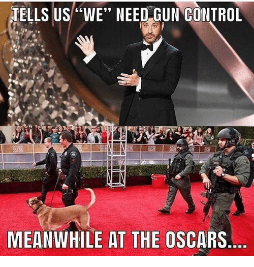 """the oscars: TELLS US""""WE"""" NEED GUN CONTROL  MEANWHILE AT THE OSCARS"""