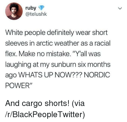 """Racial: @telushk  White people definitely wear short  sleeves in arctic weather as a racial  flex. Make no mistake. """"Y'all was  laughing at my sunburn six months  ago WHATS UP NOW??? NORDIC  POWER"""" And cargo shorts! (via /r/BlackPeopleTwitter)"""
