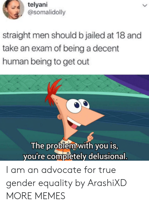 equality: telyani  @somalidolly  straight men should b jailed at 18 and  take an exam of being a decent  human being to get out  The problem with you is,  you're completely delusional. I am an advocate for true gender equality by ArashiXD MORE MEMES