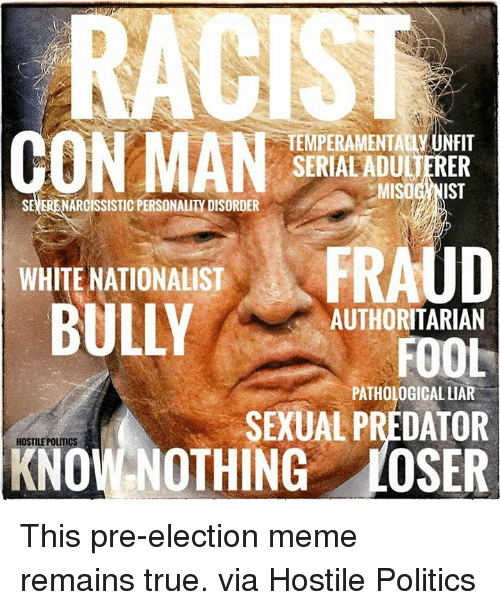 Election Memes: TEMPERAMENTAUy UNFIT  N MAN  SERIALADULJERER  MISOG NIST  ARCISSISTIC PERSONALITY DISORDER  WHITE NATIONALIST  AUTHORITARIAN  FOOL  PATHOLOGICAL LIAR  SEXUAL PREDATOR  HOSTILE POLITICS  NOTHING LOSER This pre-election meme remains true.    via Hostile Politics