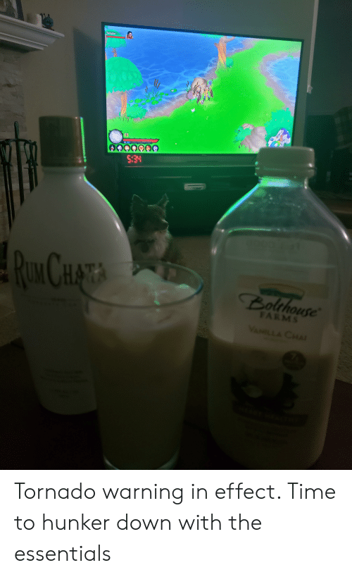 Tornado Warning: Templar  32  TOL  5:34  ROK CHATA  Bolthouse  FARMS  VANILLA CHAI Tornado warning in effect. Time to hunker down with the essentials
