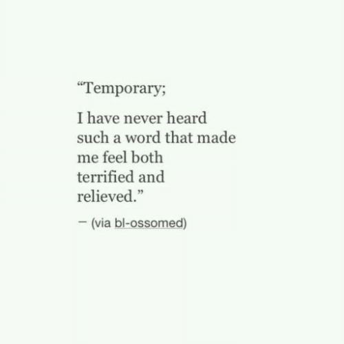 """Relieved: Temporary;  I have never heard  such a word that made  me feel both  terrified and  relieved.""""  (via bl-ossomed)"""
