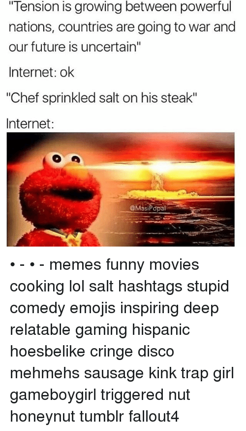 "Sprinkle Salt: ""Tension is growing between powerful  nations, countries are going to war and  our future is uncertain""  Internet: ok  ""Chef sprinkled salt on his steak""  Internet:  @Mas Popat • - • - memes funny movies cooking lol salt hashtags stupid comedy emojis inspiring deep relatable gaming hispanic hoesbelike cringe disco mehmehs sausage kink trap girl gameboygirl triggered nut honeynut tumblr fallout4"