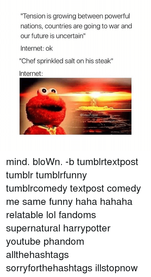 """Future, Internet, and Memes: """"Tension is growing between powerful  nations, countries are going to war and  our future is uncertain""""  Internet: ok  """"Chef sprinkled salt on his steak""""  Internet  @Masi Popat mind. bloWn. -b tumblrtextpost tumblr tumblrfunny tumblrcomedy textpost comedy me same funny haha hahaha relatable lol fandoms supernatural harrypotter youtube phandom allthehashtags sorryforthehashtags illstopnow"""