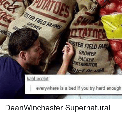packer: TER FIELD  FA  GROWER  PACKER  RIBUTOR  everywhere is a bed if you try hard enough DeanWinchester Supernatural