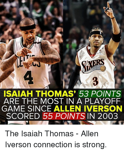 Allen Iverson, Memes, and Game: TERA  ISAIAH THOMAS 53 POINTS  ARE THE MOST IN A PLAYOFF  GAME SINCE ALLEN IVERSON  SCORED 55 POINTS IN 2003 The Isaiah Thomas - Allen Iverson connection is strong.