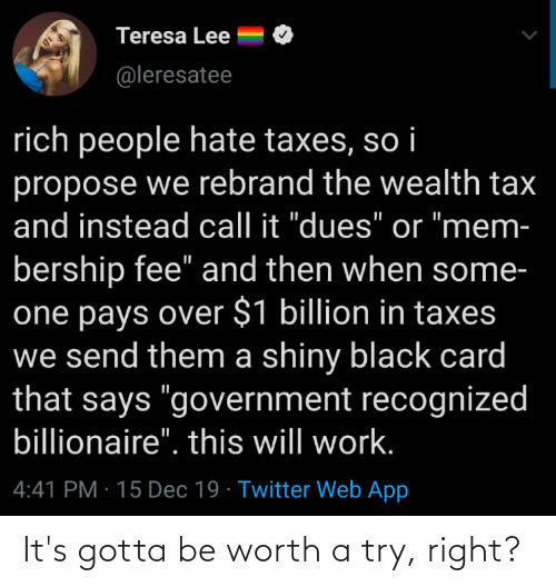 """teresa: Teresa Lee  @leresatee  rich people hate taxes, so i  propose we rebrand the wealth tax  and instead call it """"dues"""" or """"mem-  bership fee"""" and then when some-  one pays over $1 billion in taxes  we send them a shiny black card  that says """"government recognized  billionaire"""". this will work.  4:41 PM · 15 Dec 19 · Twitter Web App It's gotta be worth a try, right?"""