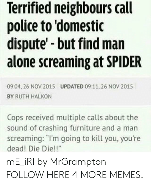 "Im Going To Kill You: Terrified neighbours call  police to 'domestic  dispute' but find man  alone screaming at SPIDER  09:04, 26 NOV 2015  UPDATED 09:11, 26 NOV 2015  BY RUTH HALKON  Cops received multiple calls about the  sound of crashing furniture and a man  screaming: ""I'm going to kill you, you're  dead! Die Die!!"" mE_iRl by MrGrampton FOLLOW HERE 4 MORE MEMES."