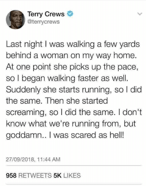 pace: Terry Crews  @terrycrews  Last night I was walking a few yards  behind a woman on my way home.  At one point she picks up the pace,  so I began walking faster as well  Suddenly she starts running, so I did  the same. Then she started  screaming, so I did the same. I don't  know what we're running from, but  goddamn.. I was scared as hell!  27/09/2018, 11:44 AM  958 RETWEETS 5K LIKES