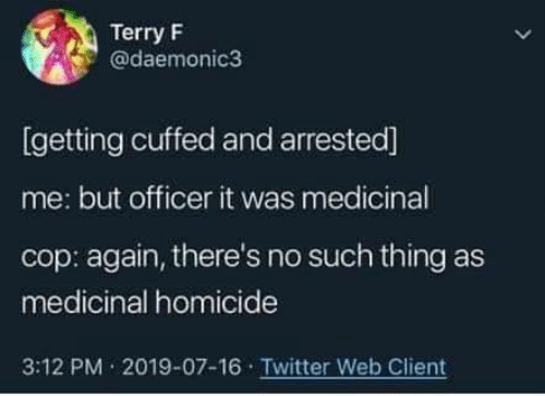 homicide: Terry F  @daemonic3  [getting cuffed and arrested]  me: but officer it was medicinal  cop: again, there's no such thing as  medicinal homicide  3:12 PM 2019-07-16 Twitter Web Client