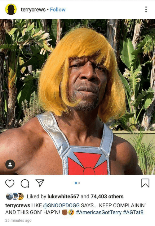 gon: terrycrews Follow  Liked by lukewhite567 and 74,403 others  terrycrews LIKE @SNOOPDOGG SAYS... KEEP COMPLAININ'  #AmericasGotTerry #AGTat8  AND THIS GON' HAP'N!  25 minutes ago