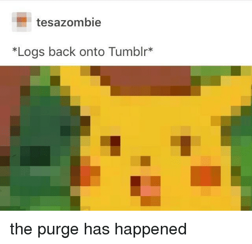 The Purge: tesazombie  *Logs back onto Tumblr* the purge has happened