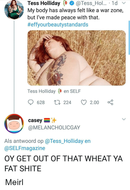tess: Tess Holliday@Tess_Hol.. 1d  My body has always felt like a war zone,  but 've made peace with that.  #effyourbeautystandards  OTAL  THE  THER  Tess Holliday en SELF  628  224  2.00  casey  @MELANCHOLICGAY  Als antwoord op @Tess_Holliday en  @SELFmagazine  OY GET OUT OF THAT WHEAT YA  FAT SHITE Meirl