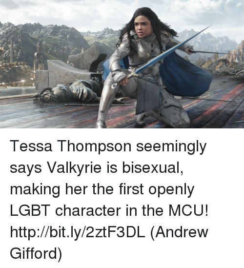 Lgbt, Memes, and Http: Tessa Thompson seemingly says Valkyrie is bisexual, making her the first openly LGBT character in the MCU! http://bit.ly/2ztF3DL  (Andrew Gifford)