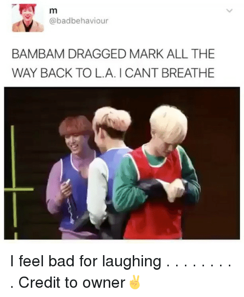 Bad, Memes, and All The: TET m  abad behaviour  BAMBAM DRAGGED MARK ALL THE  WAY BACK TO LA. CANT BREATHE I feel bad for laughing . . . . . . . . . Credit to owner✌