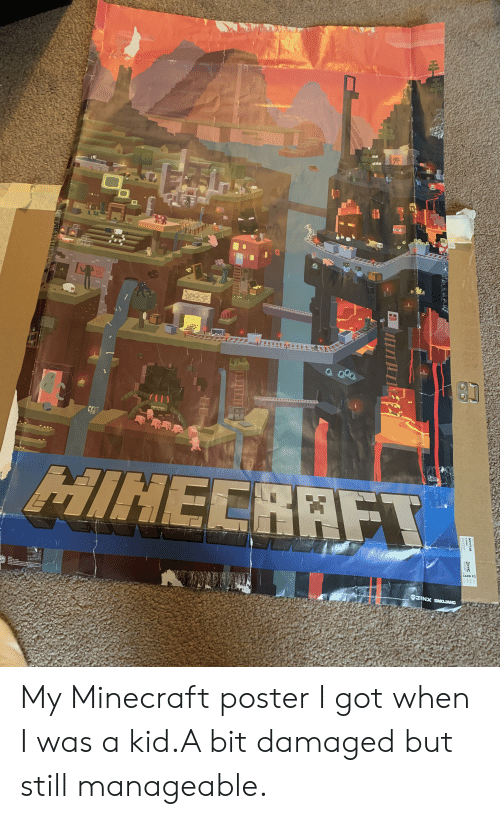 manageable: TET  TNT  HIHECRAFT  CARB P2  1331  C  n  ing  IX CROJANG  NYTTJA  22509  KEA My Minecraft poster I got when I was a kid.A bit damaged but still manageable.
