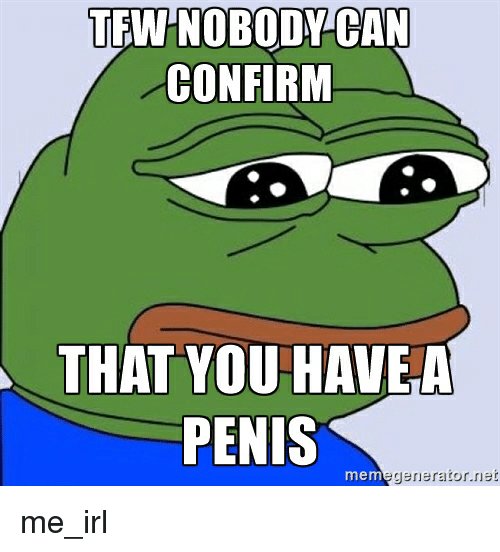 Tfw, Penis, and Irl: TEW-NOBODY CAN  CONFIRM  THAT YOU HAVE  PENIS  mem  generator  net me_irl