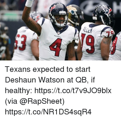 Memes, Texans, and 🤖: Texans expected to start Deshaun Watson at QB, if healthy: https://t.co/t7v9JO9blx (via @RapSheet) https://t.co/NR1DS4sqR4