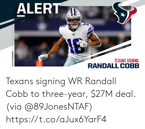 Signing: Texans signing WR Randall Cobb to three-year, $27M deal. (via @89JonesNTAF) https://t.co/aJux6YarF4