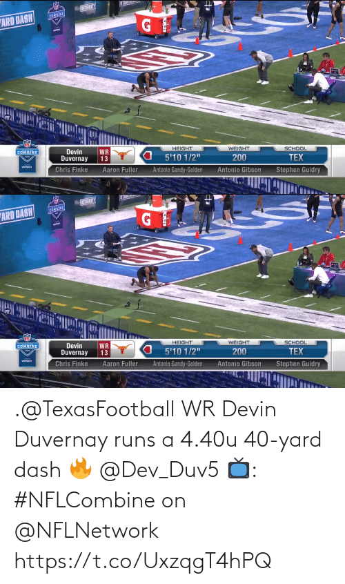 dash: .@TexasFootball WR Devin Duvernay runs a 4.40u 40-yard dash 🔥 @Dev_Duv5  📺: #NFLCombine on @NFLNetwork https://t.co/UxzqgT4hPQ
