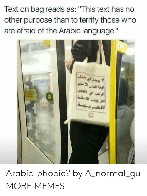 """Arabic: Text on bag reads as: """"This text has no  other purpose than to terrify those who  are afraid of the Arabic language."""" Arabic-phobic? by A_normal_gu MORE MEMES"""