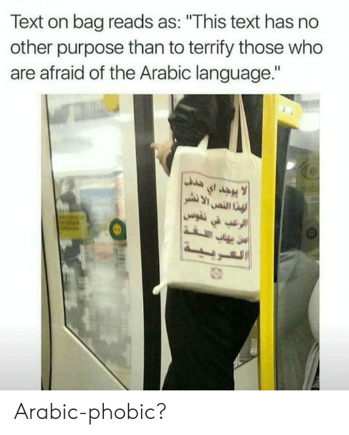 """Arabic: Text on bag reads as: """"This text has no  other purpose than to terrify those who  are afraid of the Arabic language."""" Arabic-phobic?"""