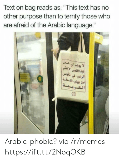 """Arabic: Text on bag reads as: """"This text has no  other purpose than to terrify those who  are afraid of the Arabic language."""" Arabic-phobic? via /r/memes https://ift.tt/2NoqOKB"""