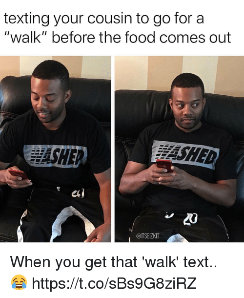 "Food, Memes, and Texting: texting your cousin to go for a  ""walk"" before the food comes out  SHE  SHED  20  @ITSBIZKIT When you get that 'walk' text.. 😂 https://t.co/sBs9G8ziRZ"