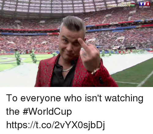 Memes, 🤖, and Who: TFI  00:171 EN DIRECT  ORABE SAOUDITE To everyone who isn't watching the #WorldCup https://t.co/2vYX0sjbDj