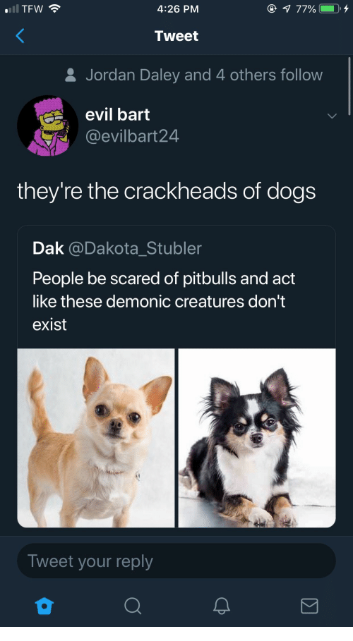 Dakota: TFW  4:26 PM  Tweet  & Jordan Daley and 4 others follow  evil bart  @evilbart24  they're the crackheads of dogs  Dak @Dakota_Stubler  People be scared of pitbulls and act  like these demonic creatures don't  exist  Tweet your reply