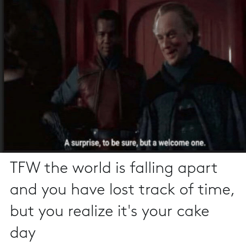 Apart: TFW the world is falling apart and you have lost track of time, but you realize it's your cake day